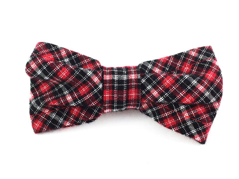 Small Slip-on Bow Tie for Dog Collar in Red and Black Plaid