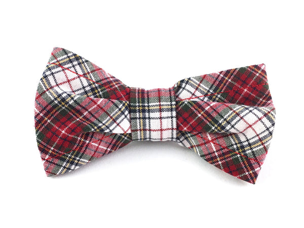 Small Slip-on Bow Tie for Dog Collar in Red and Green Plaid