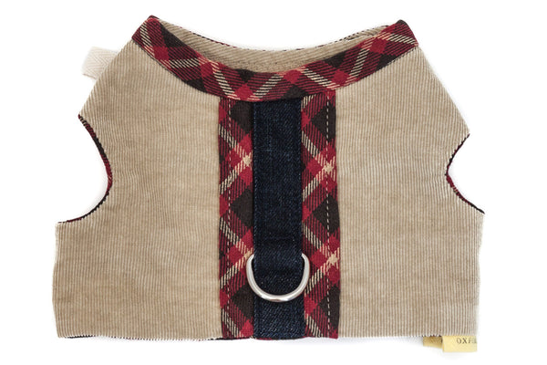 The Comfort Vest Harness in upcycled corduroy and plaid for a small dog | oxforddogma.com