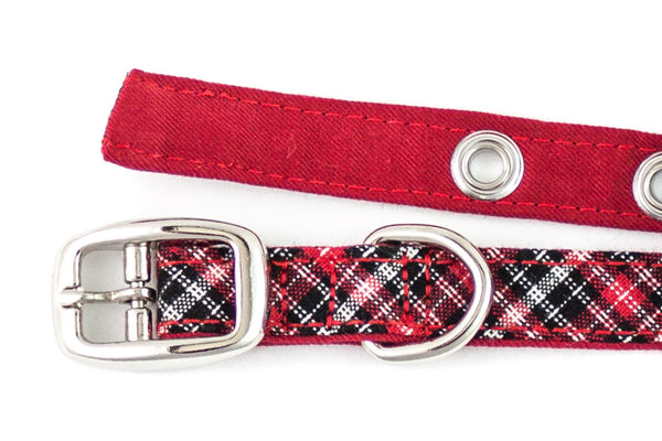 This classic dog collar is handcrafted from reclaimed materials in red, black, and white plaid with red lining | oxforddogma.com
