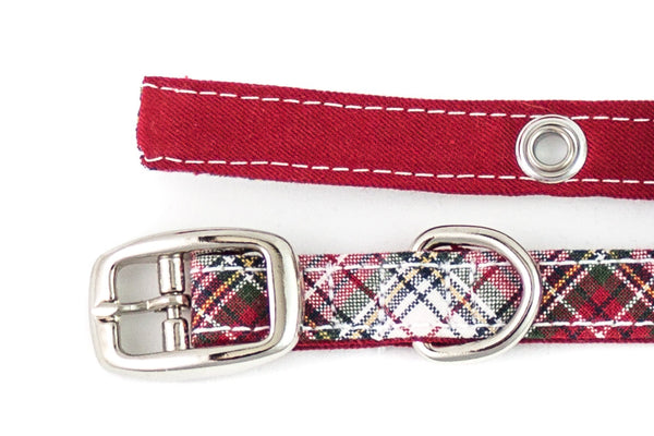 This classic dog collar is handcrafted from reclaimed materials in red, green, and white plaid with red lining | oxforddogma.com