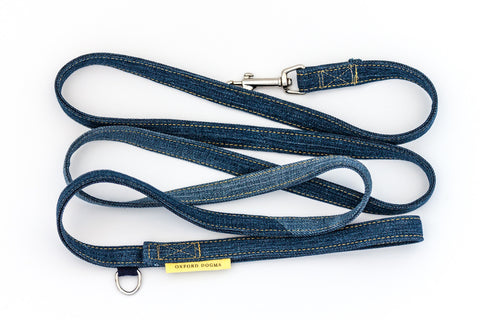 Reclaimed Denim Dog Leash with gold stitching | oxforddogma.com