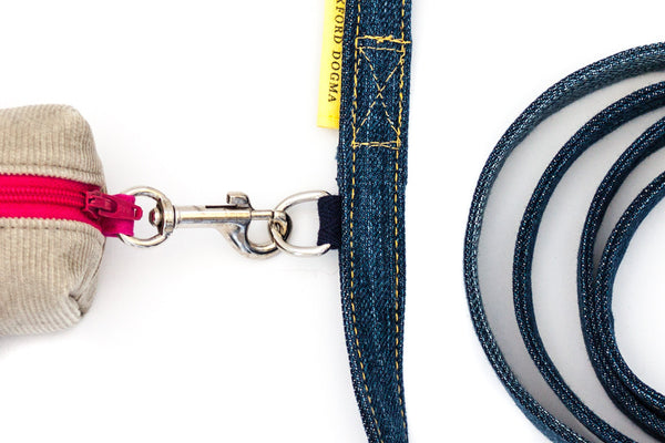 Reclaimed Denim Dog Leash accessory ring for attaching a clean-up bag dispenser | oxforddogma.com
