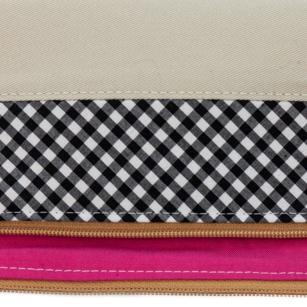 Stylish and refined poo bag dispenser in tan and black and white gingham with bright pink lining | oxforddogma.com