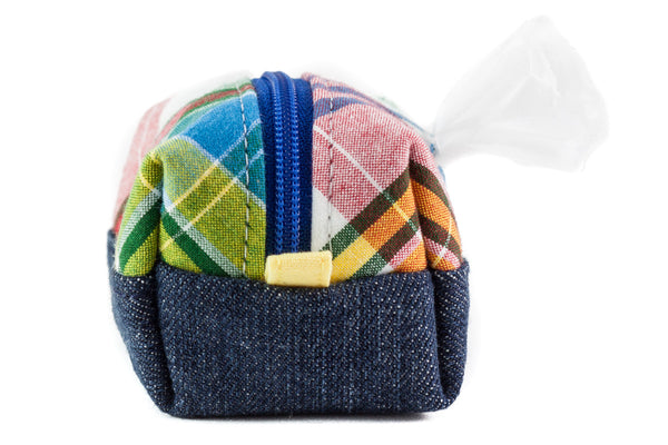 Pull out a bag for cleaning up after your dog with this handcrafted Madras plaid and denim clip-on bag dispenser | oxforddogma.com