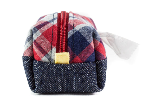 Pull out a bag for cleaning up after your dog with this handcrafted denim and plaid colorblock clip-on bag dispenser | oxforddogma.com