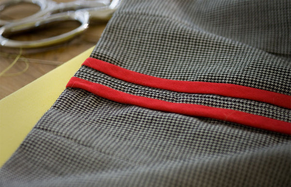 Hong Kong seam finish detail on handcrafted dog coat | oxforddogma.com