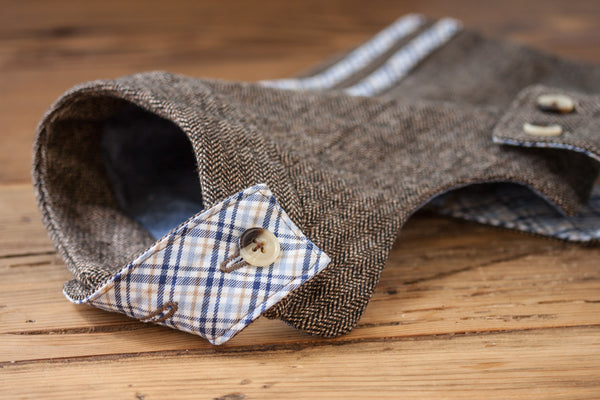 The reversible neck tab on the Tailored Classic Dog Jacket is inspired by the throat latch on classic tweed jackets | oxforddogma.com