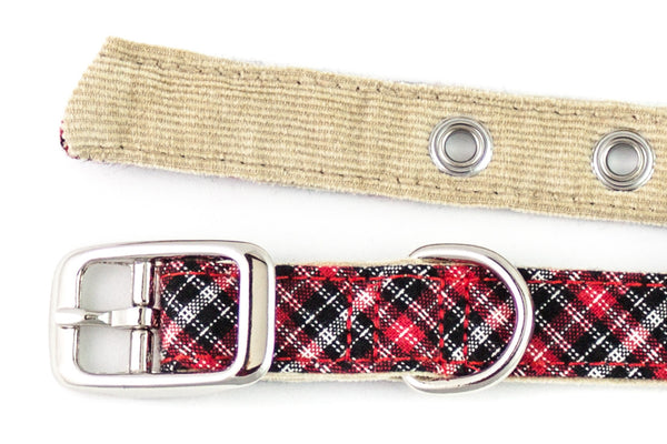 This classic dog collar is handcrafted from reclaimed materials in red, black, and white plaid with camel corduroy lining | oxforddogma.com