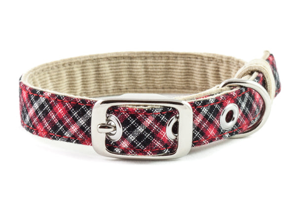 A small classic dog collar handcrafted from reclaimed materials with a nickel finish metal buckle | oxforddogma.com