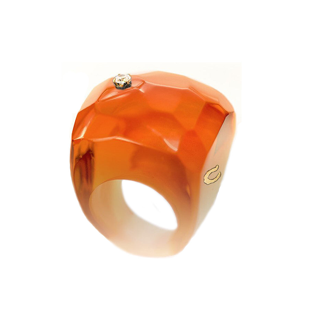 Anillo Facetado a mano Color Naranja