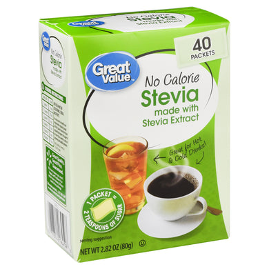 Edulcorante Stevia Great Value (40 sobrecitos)
