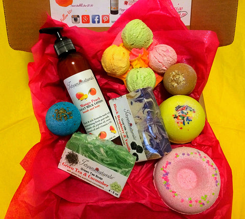 Subscription box natural bath and body products