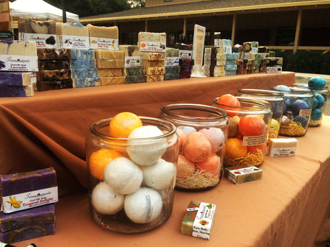 Natural soaps at Carmel valley farmers market in California