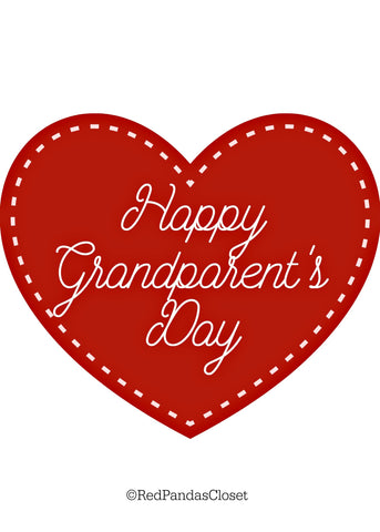 Red and White Happy Grandparents Day Card Red Panda's Closet