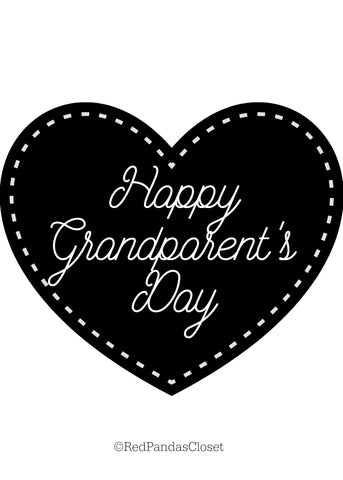 Black and White Happy Grand Parents Day Card Free Printable