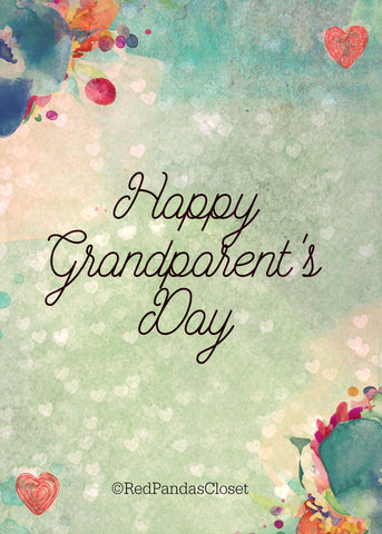 Full Color Downloadable Grandparents Day Card Red Pandas Closet
