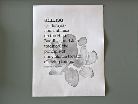 black and white version of ahimsa free printable download