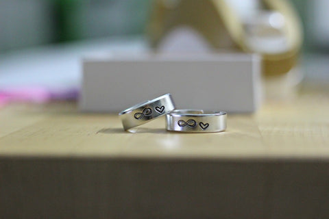 Infinity love rings couple set