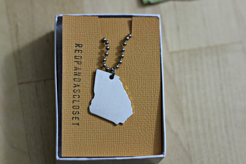 Georgia State Shape Necklace