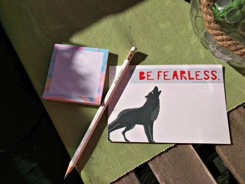 Postcard Be Fearless Wolf Red Panda's Closet
