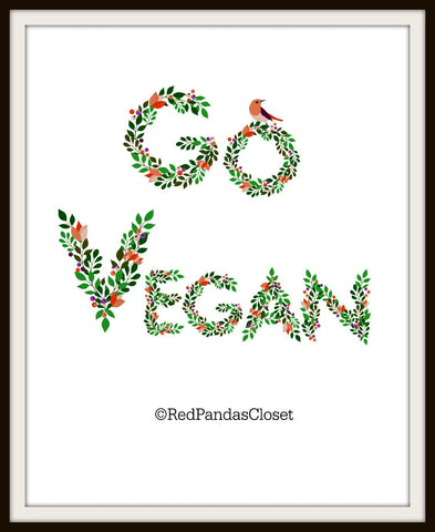8 x 10 framed August 2016 Printable Go Vegan