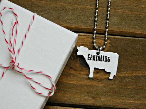 Earthling Cow Necklace by Red Pandas Closet