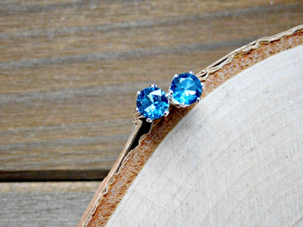 Aquamarine Earrings March Birthstone Sterling Silver 925 Stud Earring Blue Gemstone Crystal 6MM Gem