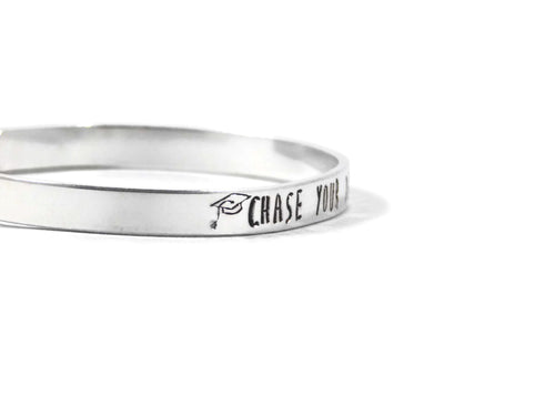 Chase Your Dreams Bracelet Graduation Gift Inspirational Message Student Motivation Metal Cuff