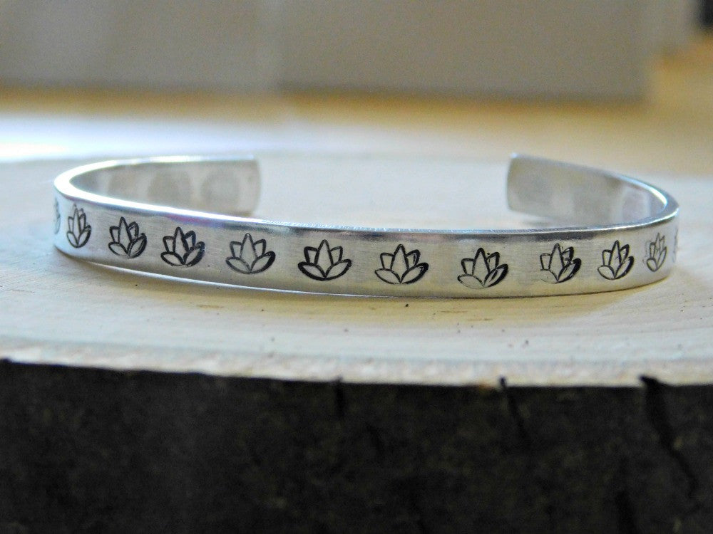 Lotus Bracelet Flower Metal Cuff Bracelet Yoga Yogi Gift Custom Secret Message Boho Silver Tone