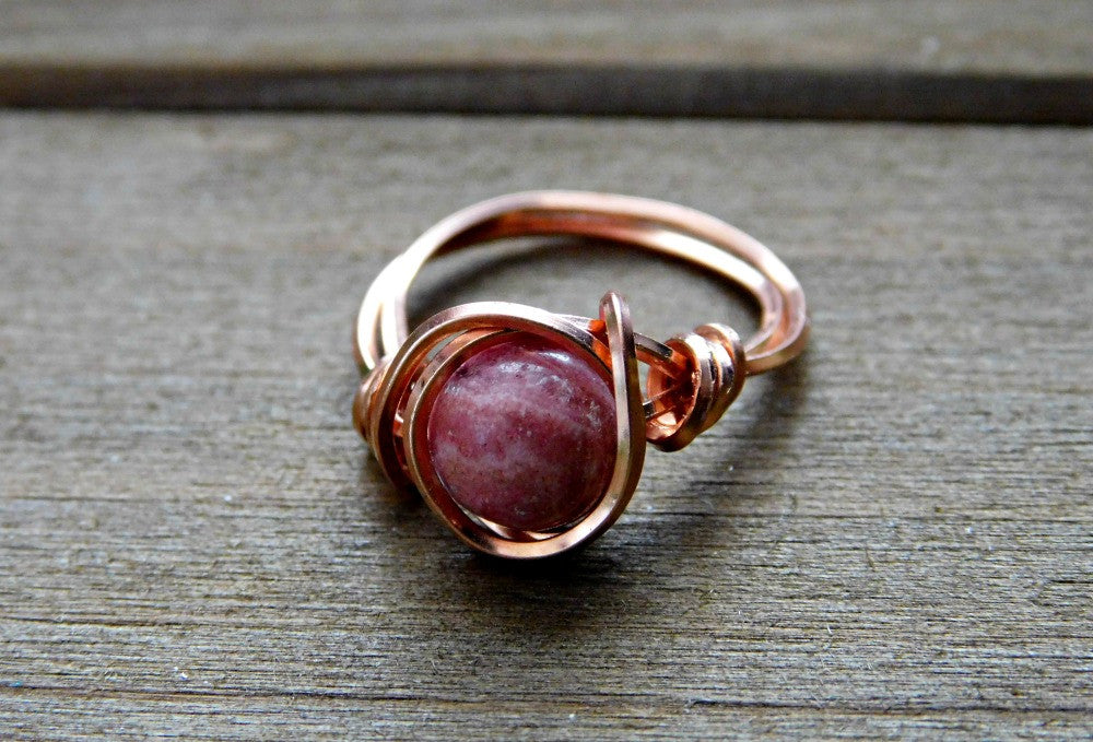 Rhodocrosite Ring Gemstone Promise Ring Wire Wrapped Custom Fit Copper Band 7.5MM Gem Valentines