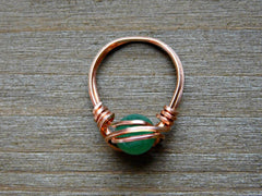 Green Gem Promise Ring Wire Wrapped Aventurine Ring Gemstone Copper 8MM Custom Size Gift