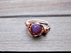 Sapphire Gemstone Promise Ring Wire Wrapped Copper