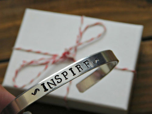 Inspire Bracelet Jewelry Custom Inspirational Message Stamped Gift Motivation Recovery Unisex Cuff