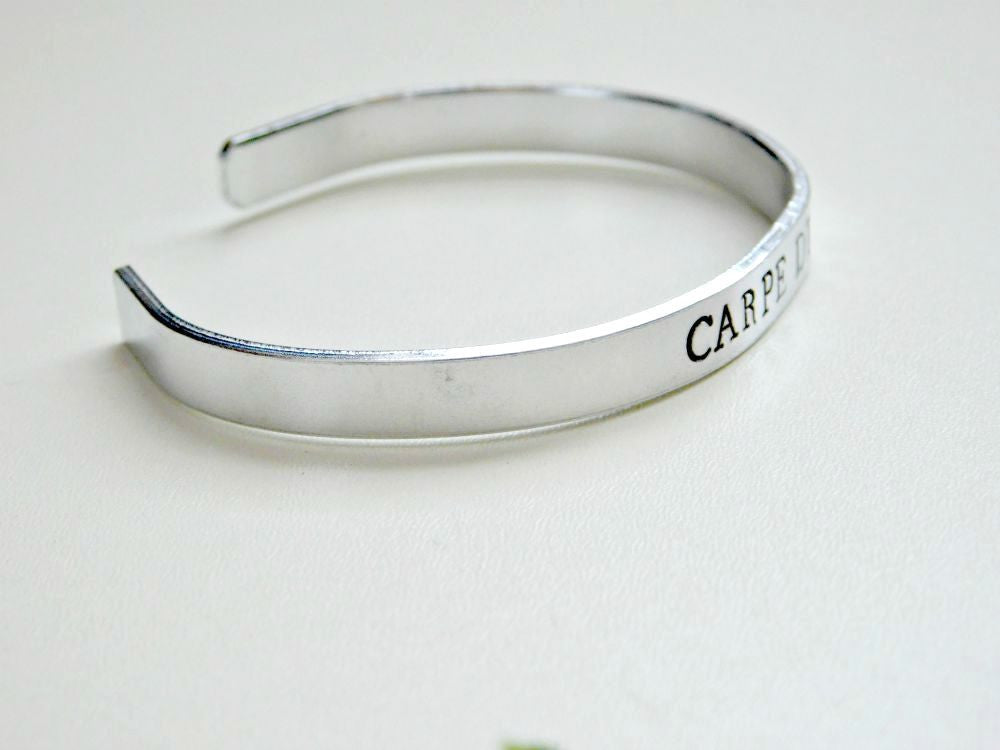 Carpe Diem Bracelet Stamped Seize the Day Message Latin Quote Motivation Unisex Cuff Birthday Gift
