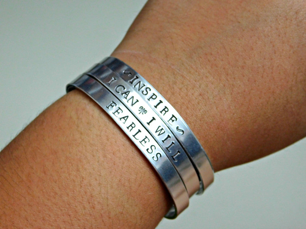 Fearless Bracelet Custom Word Stamped Cuff Inspirational Message Jewelry