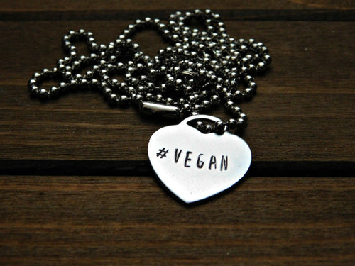 Hashtag Vegan Necklace Heart Pendant Stamped Jewelry Eco Friendly Aluminum Animal Rights Advocacy