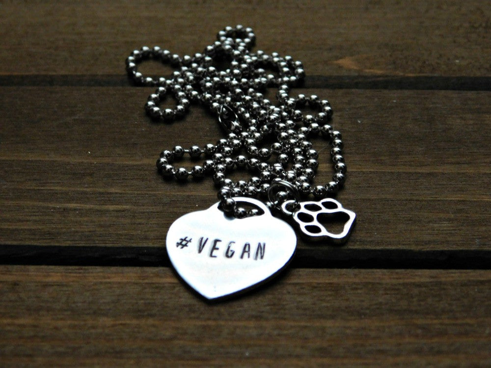 Hashtag Vegan Heart Pawprint Necklace Paw Print Charm Animal Lover Gift Stamped Pendant