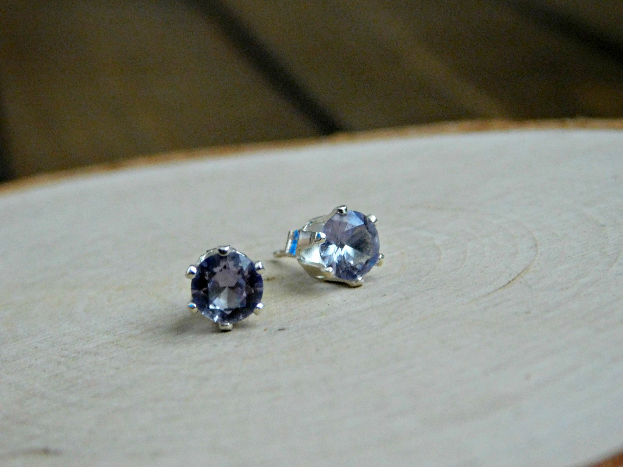 Alexandrite Earrings Sterling Silver Color Changing Gemstone Stud Earring June Birthstone 6MM Gem