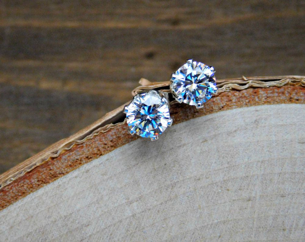 birthstone swarovski product all crystal stud earrings december silver with