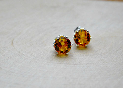Golden Topaz Earrings Stud November Birthstone Sterling Silver Earring Gold Gemstone Yellow 6MM Gem