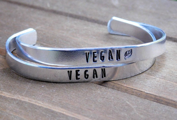 Vegan Bracelet Red Pandas Closet Vegans Gift Jewelry Inspirational Aluminum Bracelet Eco Friendly
