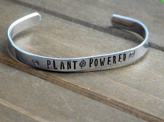 Plant Powered Bracelet Vegan Gift Jewelry Christmas Birthday Inspirational Veg Plant Based Lifestyle