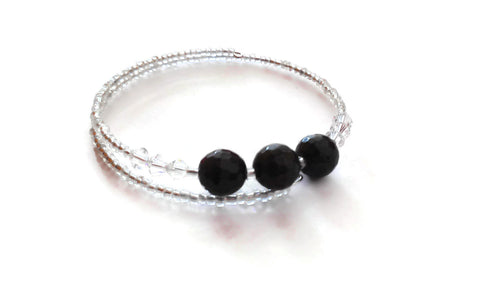 Black Garnet Gemstone Bracelet Andradite Garnet Gem Natural Crystal Yoga Jewelry Beaded Memory Wire