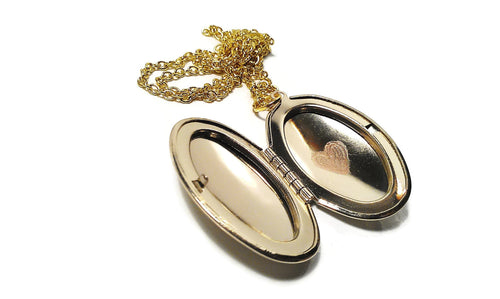 Locket Necklace Engraved Heart Gold Tone Pendant Antique Oval Birthday Gift Stocking Stuffer