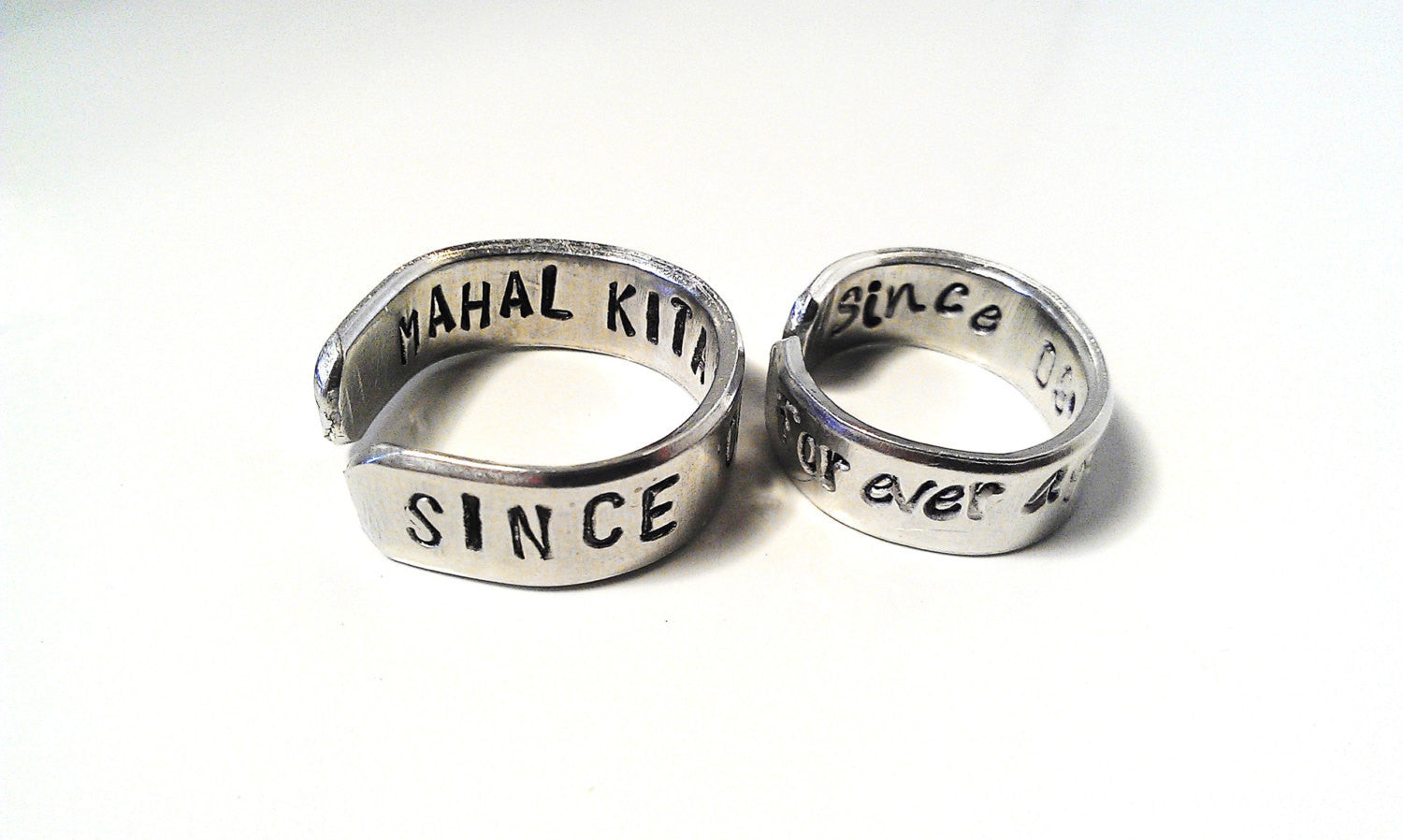 His Her Ring Engraved Metal Stamped Silver Secret Message Adjustable Custom Personalized Unisex Couples Mens Womens Promise Anniversary Gift