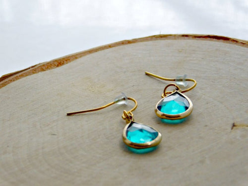 Glass Earrings Teardrop Blue Green Gold Hook Dangle Drop Earring Boho Chic Pierced