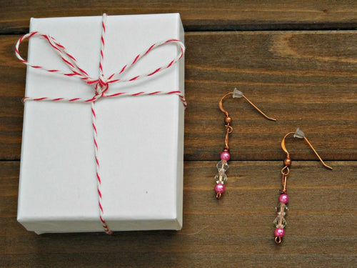 Copper Earrings Pink Beaded Dangle Crystal Earring Boho Chic Romantic Love Christmas Birthday Gift