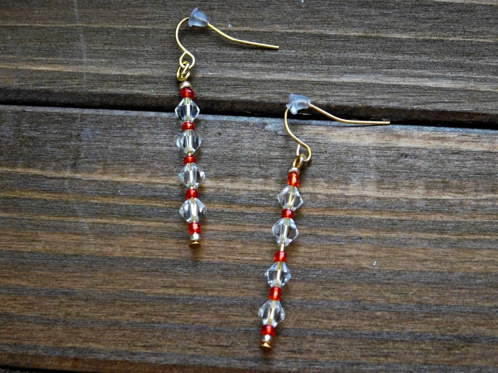 Crystal Glass Earrings Beaded Dangle Pierced Earring Womens Boho Birthday Christmas Valentines Gift