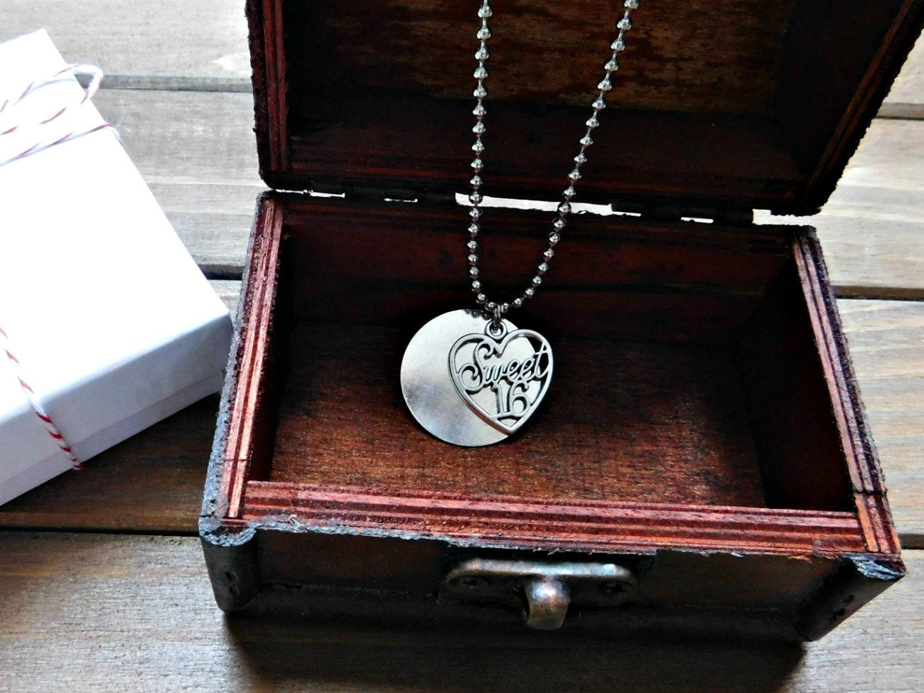 Sweet 16 Necklace Sweet Sixteen Charm Teen Gift Engraved Necklace Heart Charm Necklace Sweet 16 Birthday Gift Boho Layering Necklace Silver